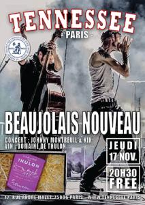concert Beaujolais Nouveau Johnny Montreuil poster Tennessee Paris